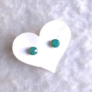 Light Blue W Stud Earrings